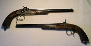 Click to enlarge A very fine pair of percussion target pistols by by Auguste Francotte, Liege and made for J. Canedo, Buenos Aires