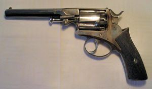 Click to enlarge a 54 bore five shot percussion revolver, un-named but of Webley type