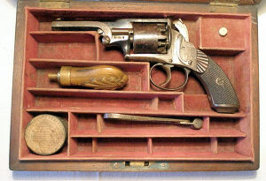 Click to enlarge A cased 120 bore double action percussion revolver by Hart
