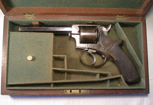 Click to enlarge A cased .38 five shot rimfire house pistol by John Blanch & Son