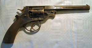 Click to enlarge a very good 38 bore LAC Beaumont Adams percussion revolver.