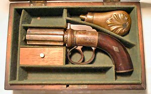 Click to enlarge A cased 120 bore six shot pepperbox revolver by Boston of Wakefield