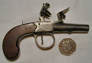 Click to enlarge A small 90 bore flintlock boxlock muff pistol by Bond