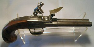 Click to enlarge A 54 bore double barrelled side by side boxlock flintlock pistol by J. & W. Richards