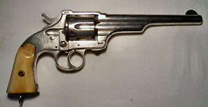 Click to enlarge A re-nickelled .44 Merwin and Hulbert 2nd Model revolver with original ivory grips